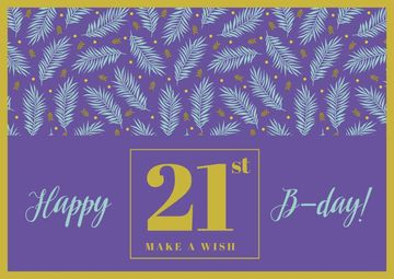 Happy Birthday Greeting Leaves in Purple