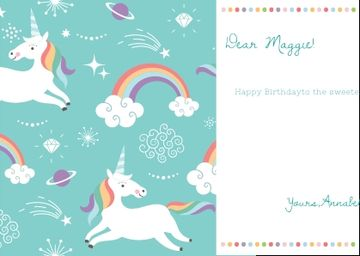 Happy Birthday Greeting with Magical Unicorns
