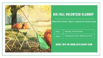 Volunteer Cleanup Announcement Autumn Garden with Pumpkins