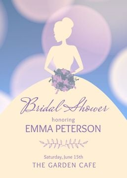 Bridal shower invitation with Bride silhouette