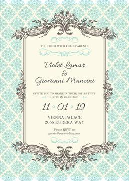 Wedding Invitation in Vintage Style in Blue