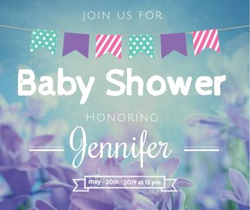 Baby Shower invitation Blooming Flowers in Blue