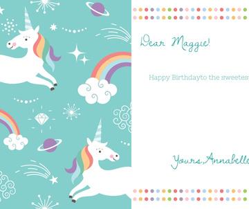 Happy Birthday Greeting Magical Unicorns