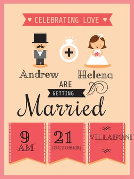 Wedding Invitation with Groom and Bride