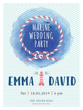 Marine Wedding Party invitation in Blue