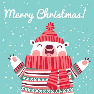 Merry Christmas Greeting with Funny Bear