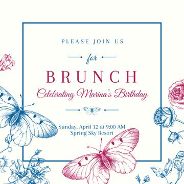 Brunch Invitation with Butterflies
