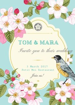 Wedding Invitation with Flowers and Bird in Blue