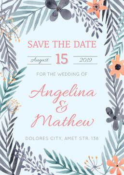 Save the Date Flowers Frame in Blue