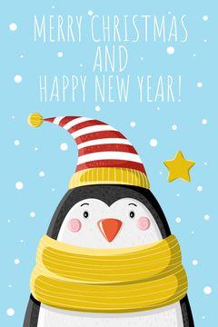Christmas Greeting Cute Penguin in Hat
