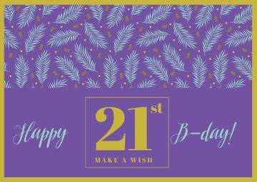 Happy Birthday Greeting with Leaves in Purple