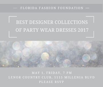 Fashion Show announcement bokeh in blue