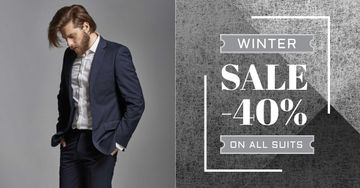 Suit sale advertisement with Stylish Man