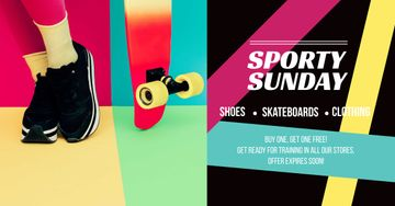 Sporty Sunday sale Ad with Skateboard