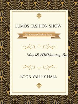 Fashion Show invitation Golden Art Deco pattern