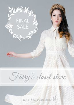 Clothes Sale Woman in White Dress