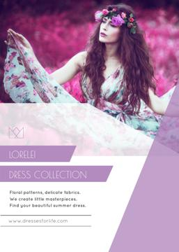 Fashion Ad with Woman in Floral Dress