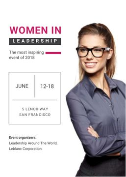 Business Event Announcement Smiling Businesswoman
