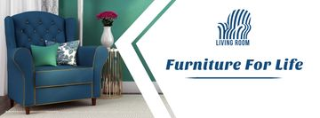 Furniture Ad with Cozy Interior Blue Armchair