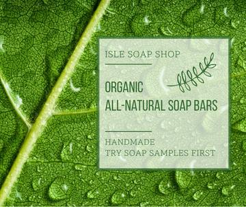 Organic Cosmetics Ad Drops on green Leaf
