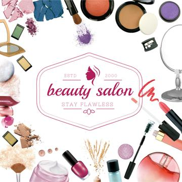 Salon Ad with Cosmetics Set and Brushes