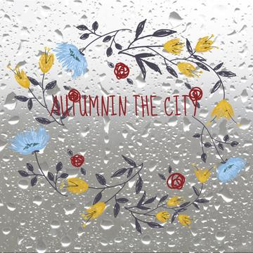Autumn Flowers Wreath on Wet Glass