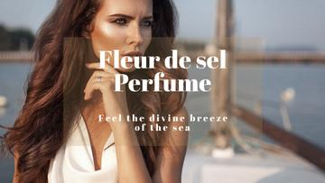 New perfume advertisement with Beautiful Young Woman