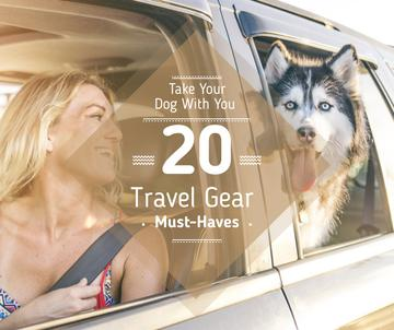 Travelling with Pet Woman and Dog in Car