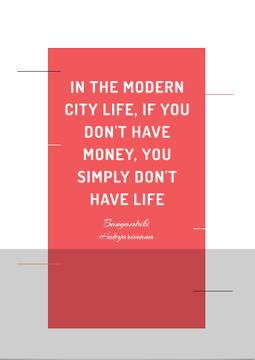 Citation about money in modern city life