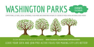 Park Event Announcement with Green Trees