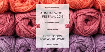 Knitting Festival Invitation with Wool Yarn Skeins