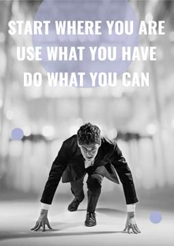 Motivation Quote Businessman on Race Start