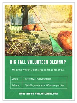 Volunteer Cleanup with Pumpkins in Autumn Garden