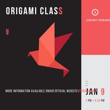 Origami Classes Invitation Paper Bird in Red