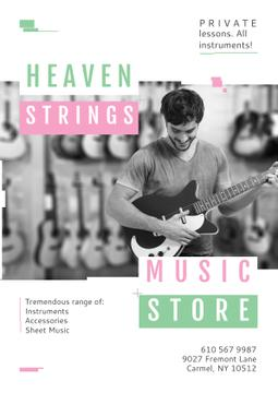 Music Store Special Offer with Man playing Guitar
