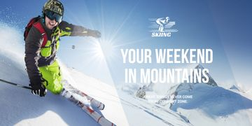 Weekend in mountains advertisement
