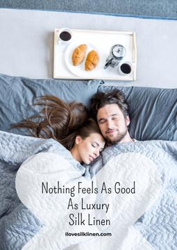 Luxury silk linen website with Couple in bed