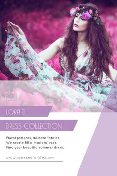 Fashion Collection Ad with Woman in Floral Dress