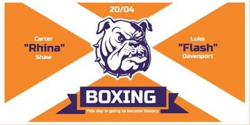 Boxing Match Announcement with Bulldog on Orange
