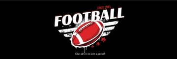 Football Event Announcement with Ball in Red