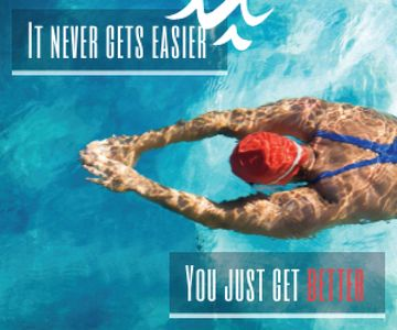 Inspirational quote poster with swimmer