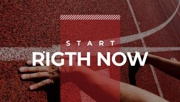 Hands on start line with motivational quote