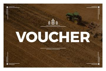 Voucher card with Tractor on field