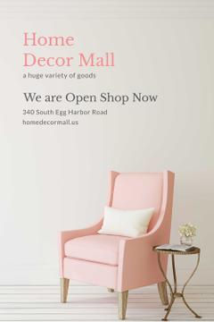 Furniture Shop Ad with Pink Cozy Armchair