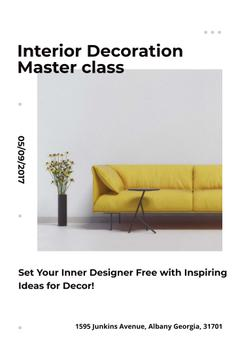 Interior Decoration Event Announcement with Sofa in Yellow