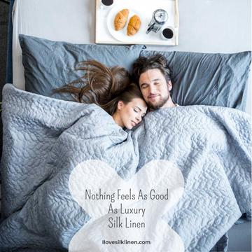 Luxury silk linen with Cute Couple in Bed