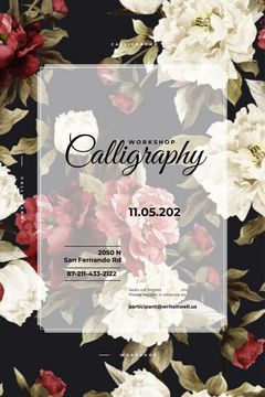 Calligraphy workshop Announcement with flowers
