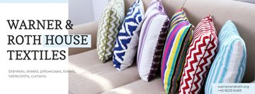 Home Textiles Ad with Pillows on Sofa