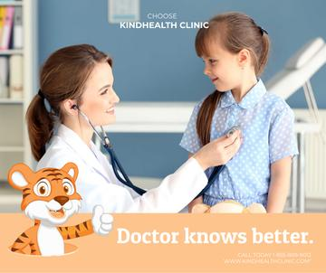 Pediatrician Examining Child in Clinic