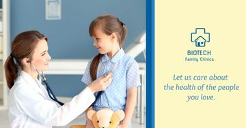 Family clinic advertisement Pediatrician with Child